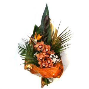 Buchet cu orhideea si pasarea paradisului